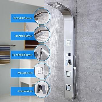 Decor Star 007 SS 62u0026quot; Stainless Steel Rainfall Waterfall Shower Panel  Tower Rain Massage