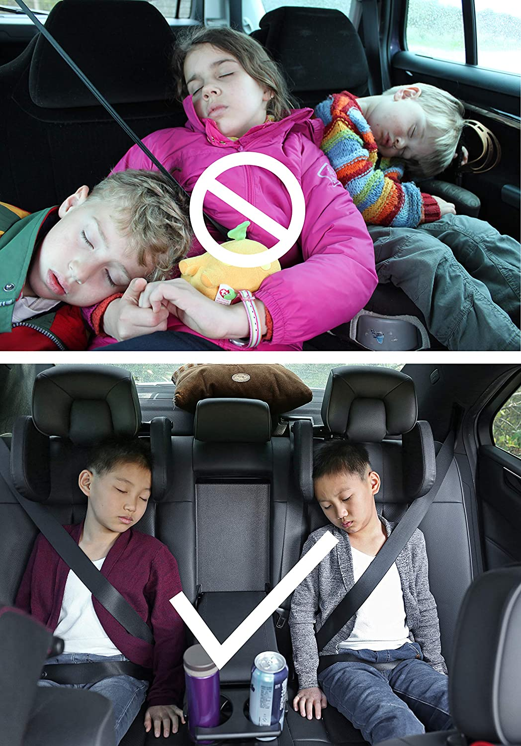 PVC Black A Comfortable and Safe Car Seat Pillow for Head and Neck Support During Car Travel LEADSIGN Ajustable Car Headrest