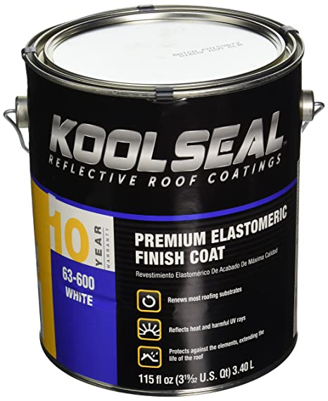 Kool Seal KST063600-16 Elastomeric Roof Coating, 115 fl oz , Liquid, White,