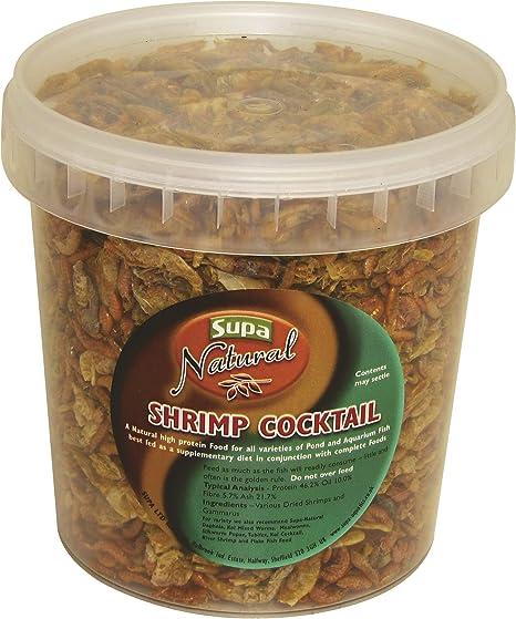 Supa - Comida Natural para cócteles de camarón, 1 litro de cucharón, Alimentos Ricos en proteínas, Apto para acuarios y Peces de Estanque