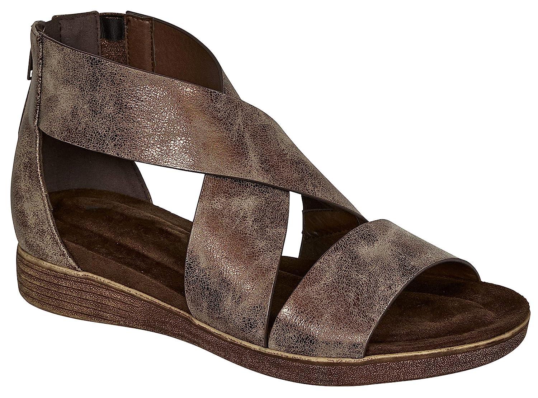 Bronze4k MVE shoes Women's Stylish Strappy Cushioned Open Toe Stretchy Back Zipper Low Platform Sandal