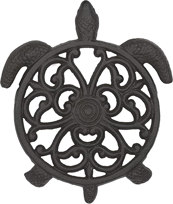 gasaré, Cast Iron Trivet, Metal Trivet, Decorative Turtle Fleur De Lis, for Hot Dishes, Pots, Kitchen, Countertop, Dining Table, Rubber Feet Caps, Solid Cast Iron, 8 ½ x 7 Inch, Rustic Brown Finish