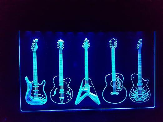 Zhengdian Electronic Guitars Guitarras/Guitarra Neon Neon – Cartel Luminoso (LED Nuevo Cartel Cargar Reklame: Amazon.es: Hogar