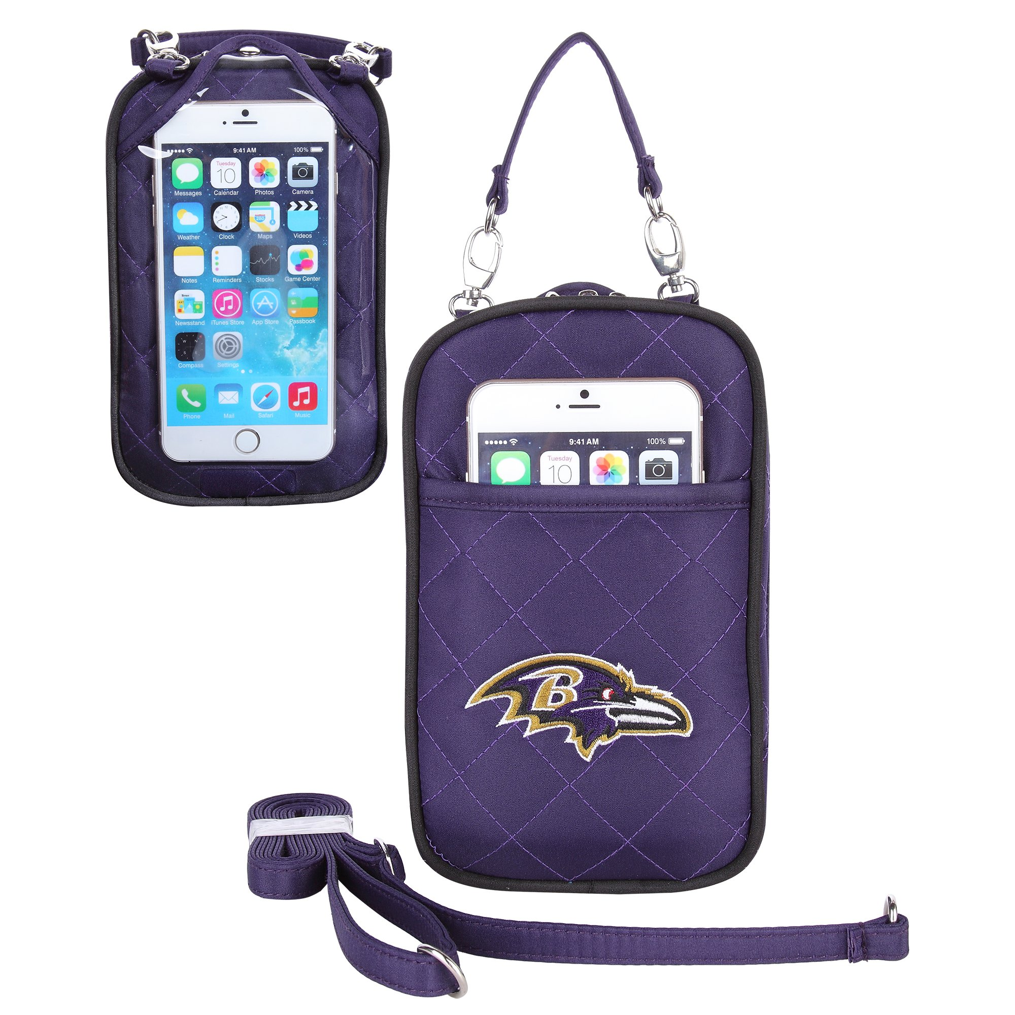 Charm14 NFL Baltimore Ravens Women's Crossbody Bag Quilt-Embroidered Logo-Fits All Phones by Little Earth