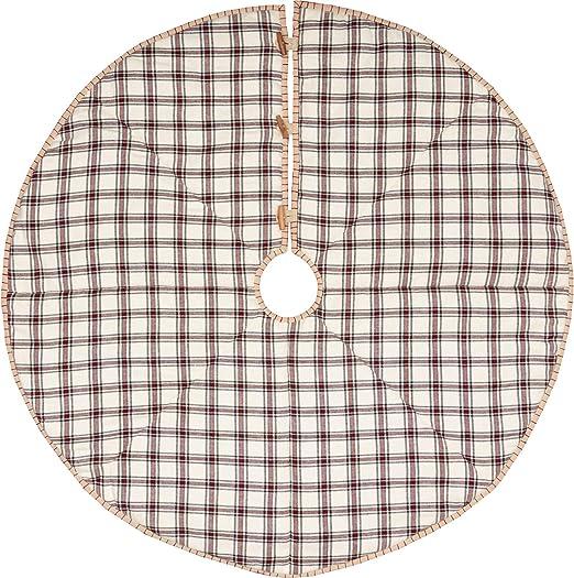 White Farmhouse Holiday Decor VHC Amory Stocking Fabric Loop Cotton Plaid