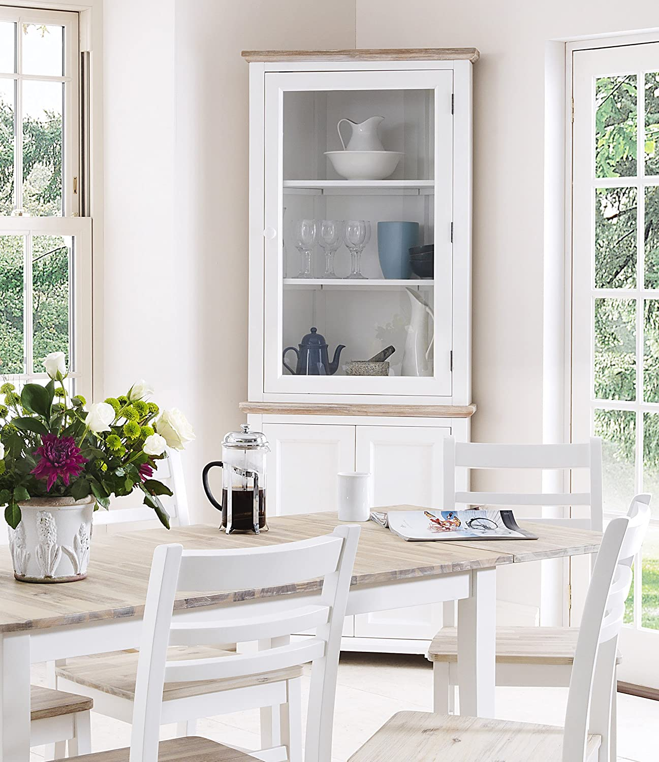 Florence Corner Display Cabinet White Glass Dresser With Bottom Cupboard Shelf STURDY
