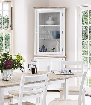 Florence Corner Display Cabinet. White glass corner dresser with ...