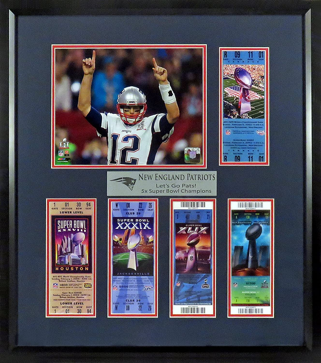 New England Patriots 'Let's Go Pats!' Super Bowl Tickets Display (Feat. SB LI Tom Brady) Framed Sports Gallery Authenticated