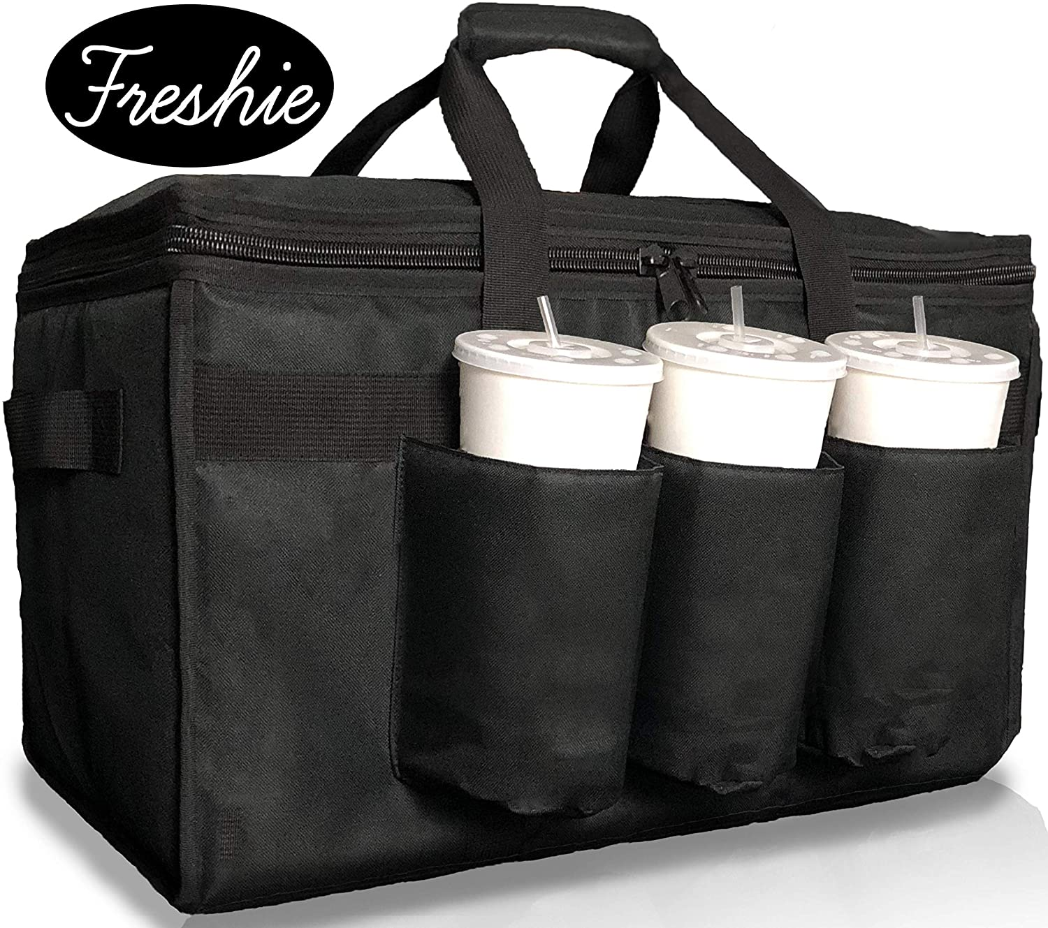 Insulated Food Delivery Bag with Cup Holders/Drink Carriers Premium XXL, Great for Beverages, Grocery, Catering, DoorDash, Uber Eats, PostMates, Grubhub, Commercial Quality Hot and Cold