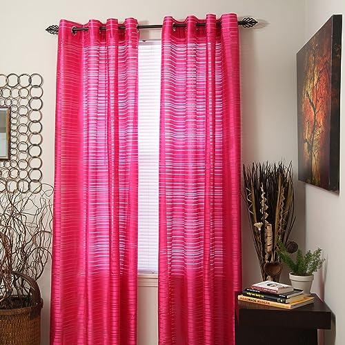 Lavish Home Maggie Grommet Single Curtain Panel, 95-Inch, Fuchsia