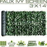 ColourTree 3' x 14' Artificial Hedges Faux Ivy Leaves Fence Privacy Screen Cover Panels  Decorative Trellis - Mesh Backing -