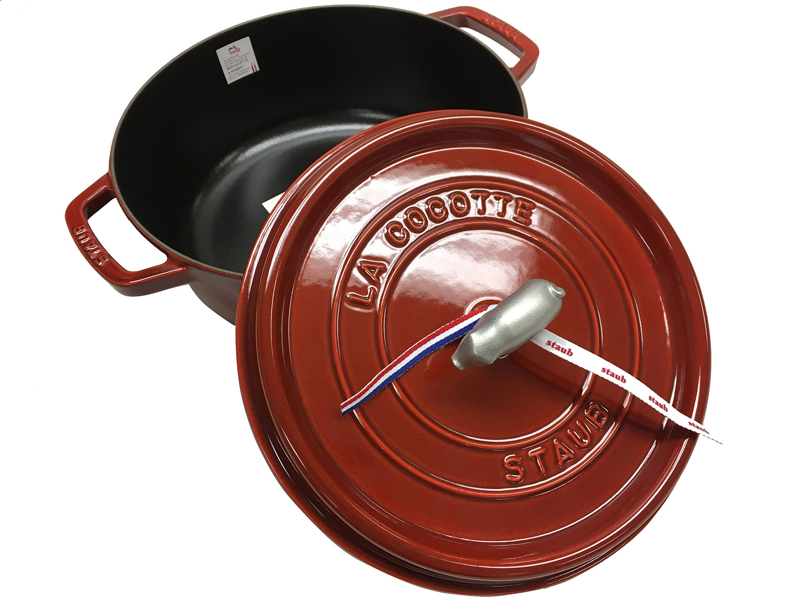 Staub Cast-Iron Wide Round Cocotte, 6 qt. - Grenadine with Pig Knob