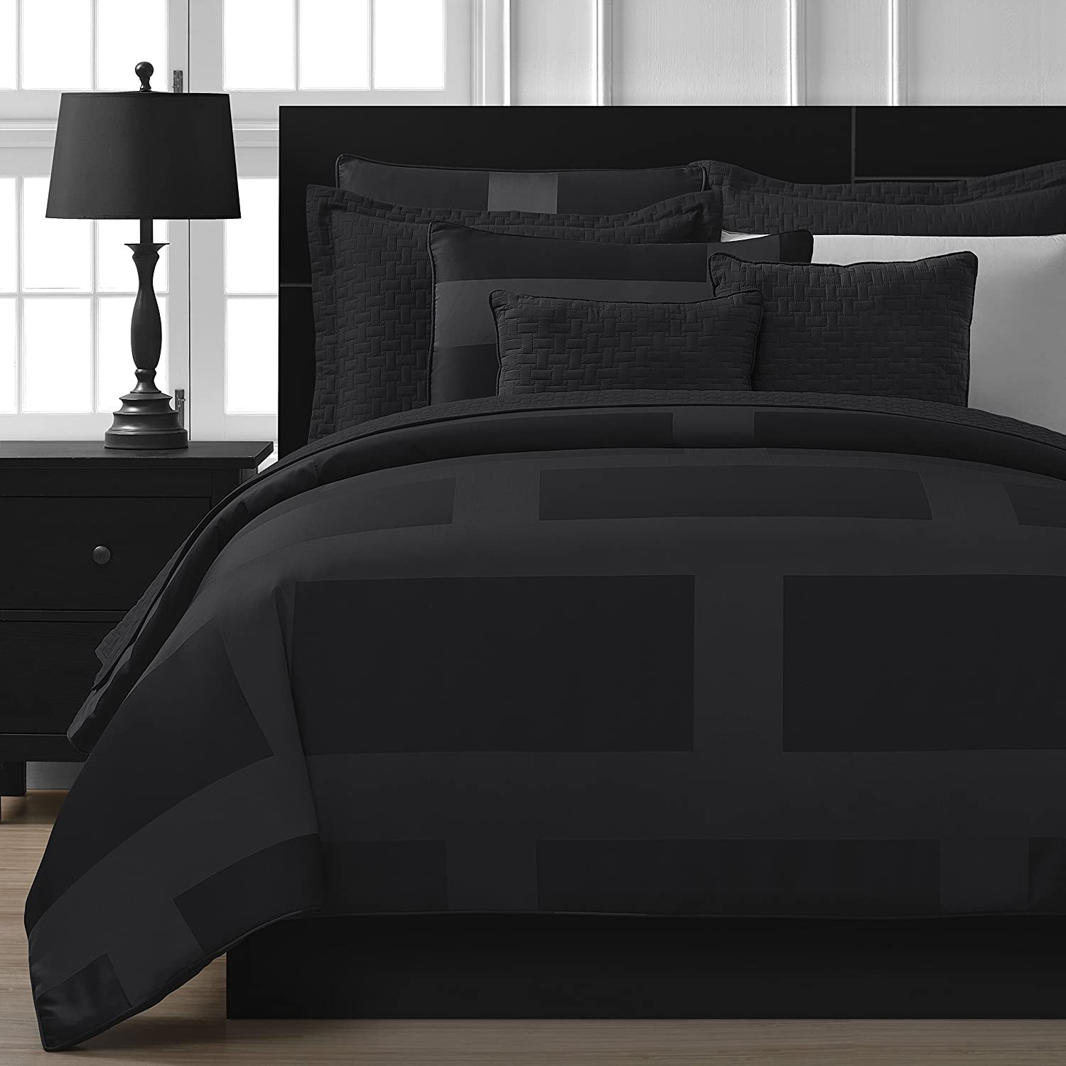 Comfy Bedding Frame Jacquard Microfiber 5-piece Comforter Set (King, Black)
