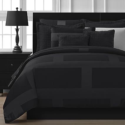 Comfy Bedding Frame Jacquard Microfiber 5 Piece Comforter Set Full Black