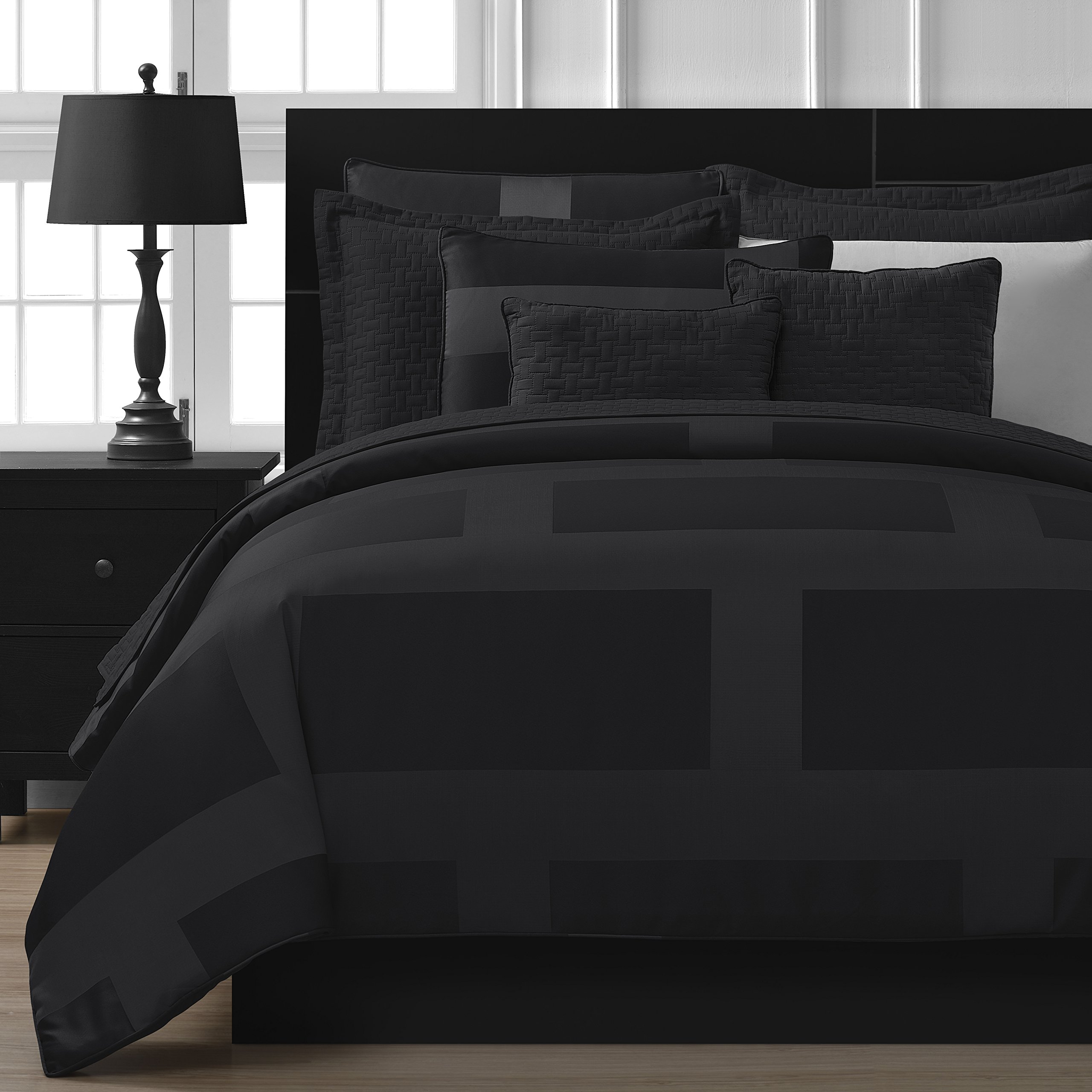Comfy Bedding Frame Jacquard Microfiber Full 8-piece Comforter Set, Black