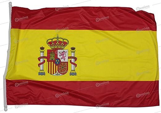 Bandera España 225x150 cm en tela náutico resistente al viento 115g/m², bandera española 225x150 lavable, bandera de Espana 225x150 alta calidad con cordón, doble costura perimetral y cinta de refuerzo: Amazon.es: Jardín