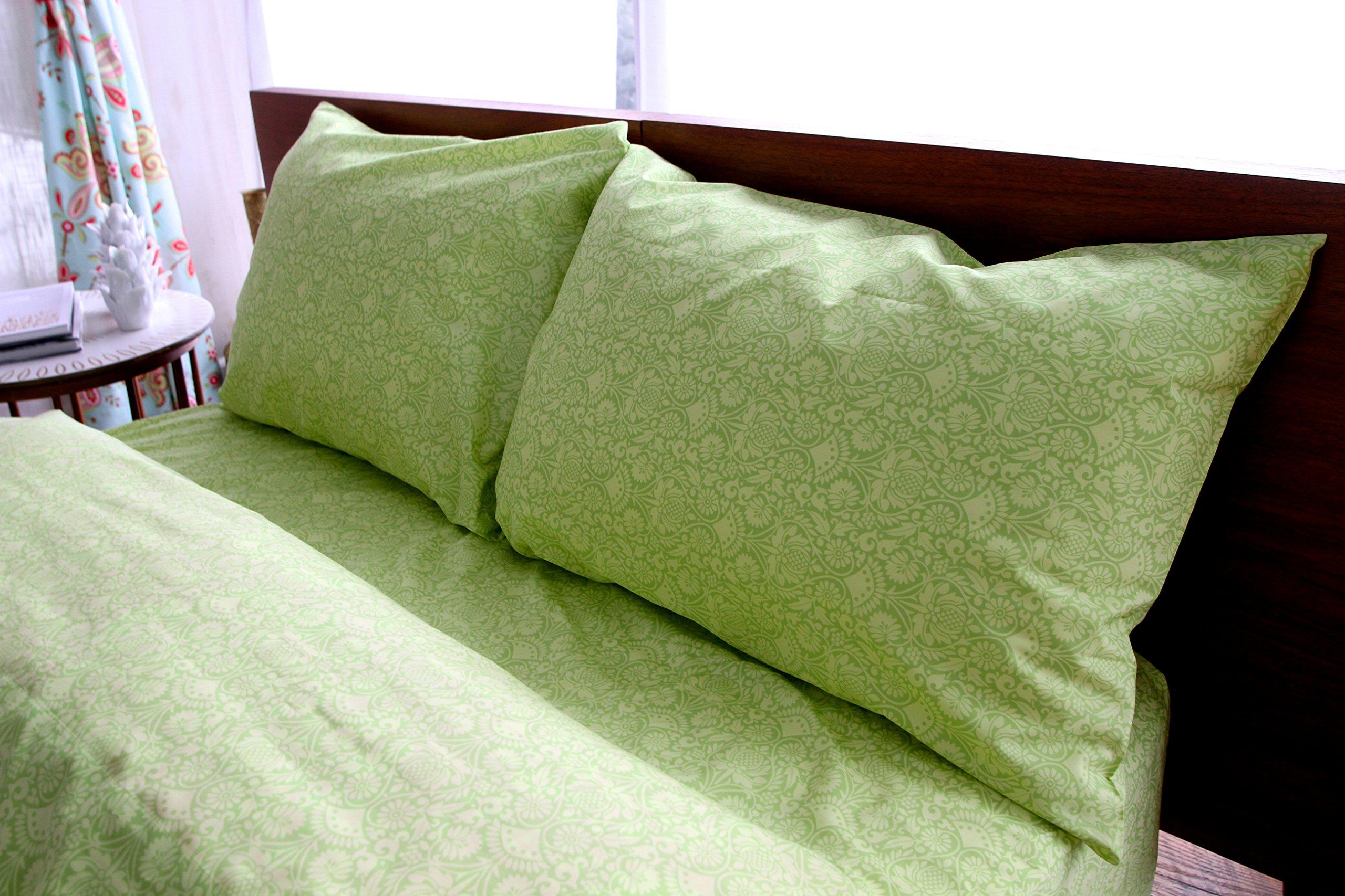 Amy Butler Sari Bloom Chartreuse Floral Cotton Sheet Set, King
