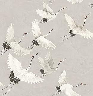 A-Street Prints FD24304 Wind Song Crane Wallpaper, Grey, 20.5-Inch x 33 ft