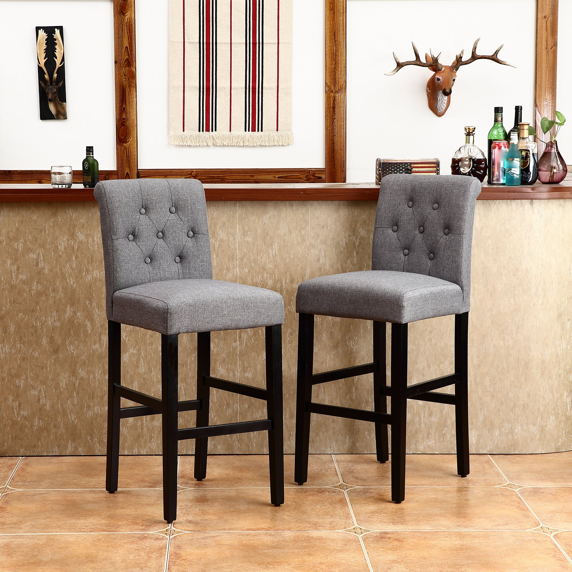 LSSBOUGHT Set of 2 Button-Tufted Fabric Barstools Dining High Counter Height Side Chairs (Seat Height: 30'', Gray)