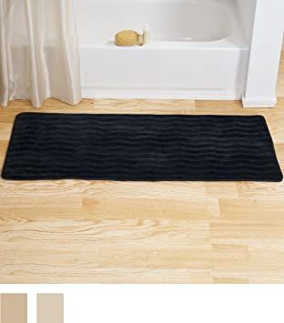 Bedford Home Memory Foam Extra Long Bath Rug Mat   Black   24x60
