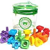 Jumbo Nuts and Bolts Set with Toy Storage and eBook | Montessori Toddler Rainbow Matching Game Activities | Fine Motor…