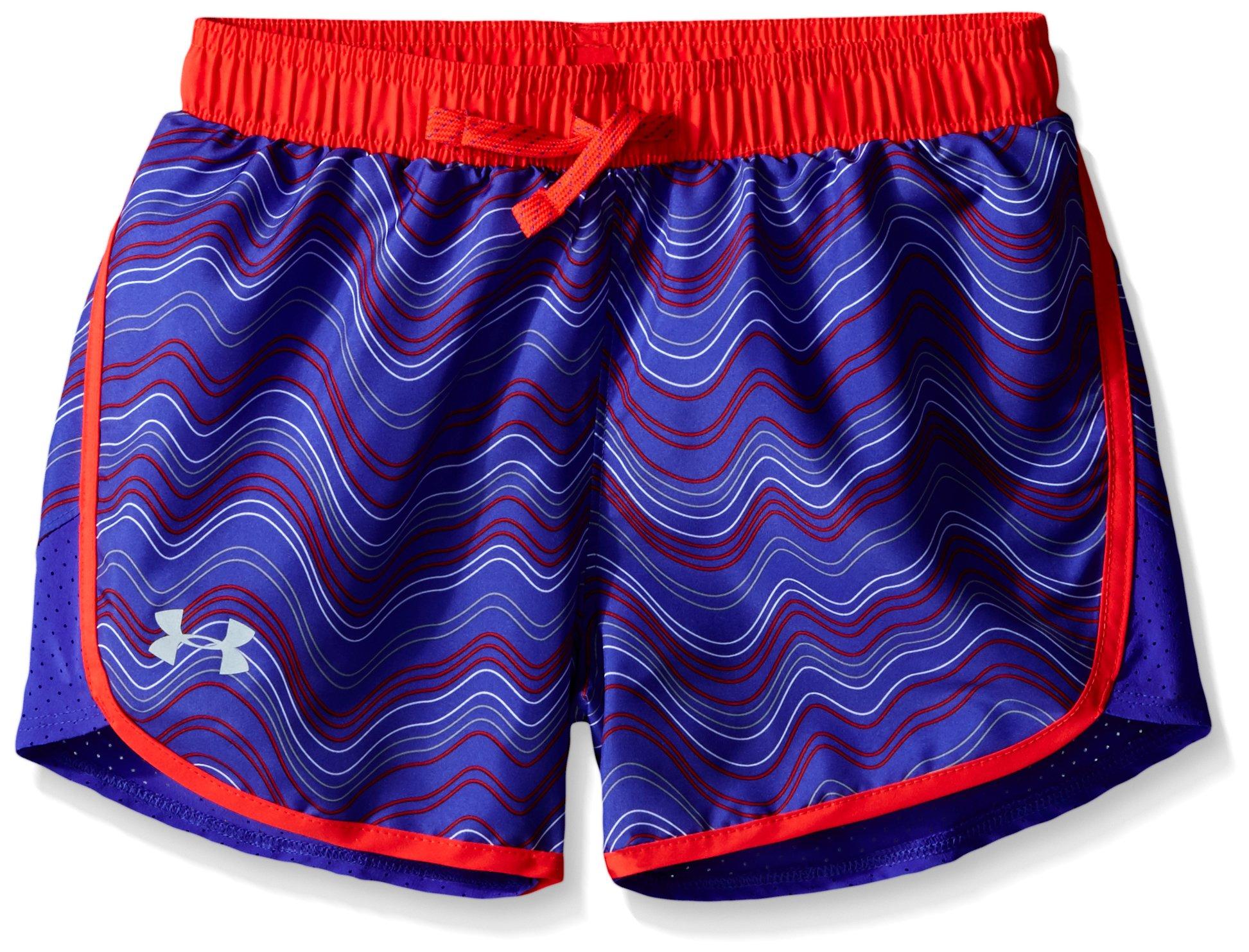 Under Armour Girls' Fast Lane Novelty Shorts, Constellation Purple /Reflective, Youth X-Large