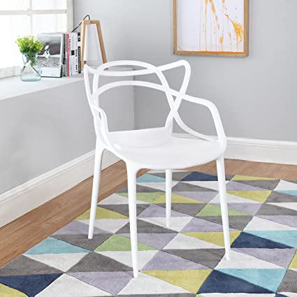 Modern Set Of 2 Hollow Out Abstract Pattern Chair (White)