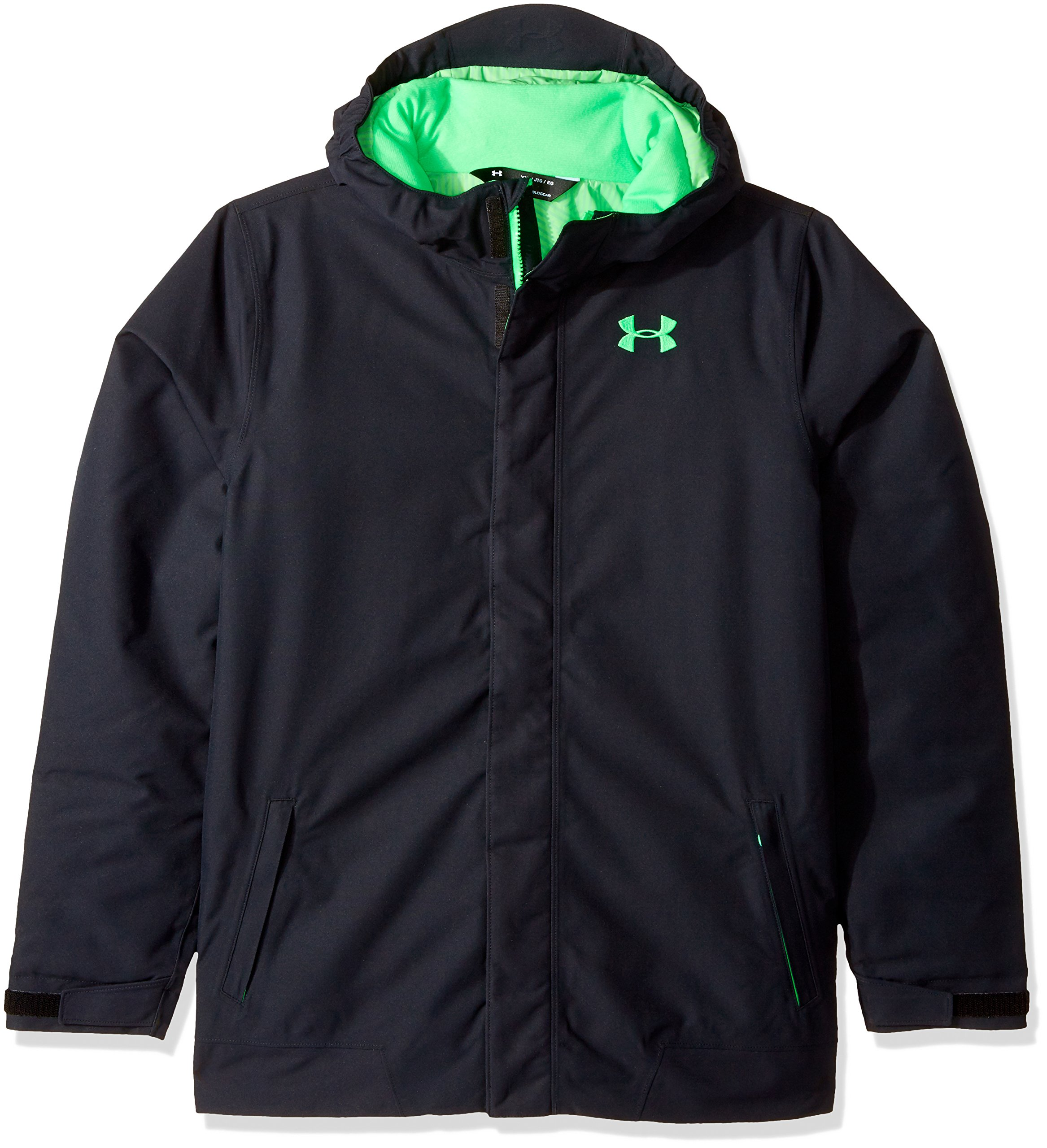 Under Armour Boys' Storm Powerline Insulated Jacket, Black/Lime Twist, Youth Medium by Under Armour