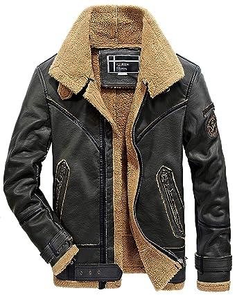 b33eed4c1 WS668 Men's Fashion Winter Thicken Warm Retro PU Leather Jacket ...