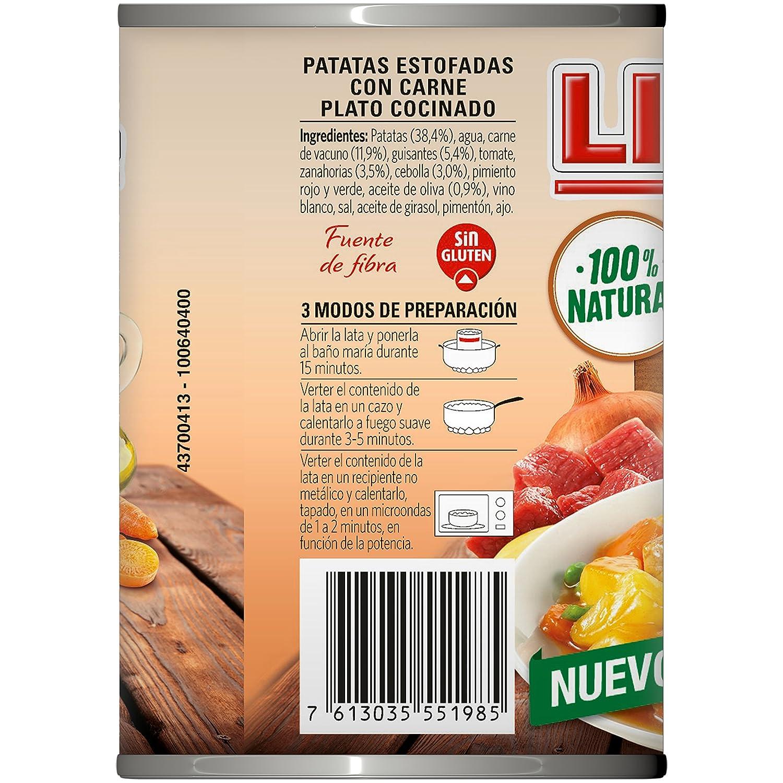 LITORAL Guiso de Patatas Estofadas con Carne - Plato Preparado Sin Gluten - 420g: Amazon.es: Alimentación y bebidas