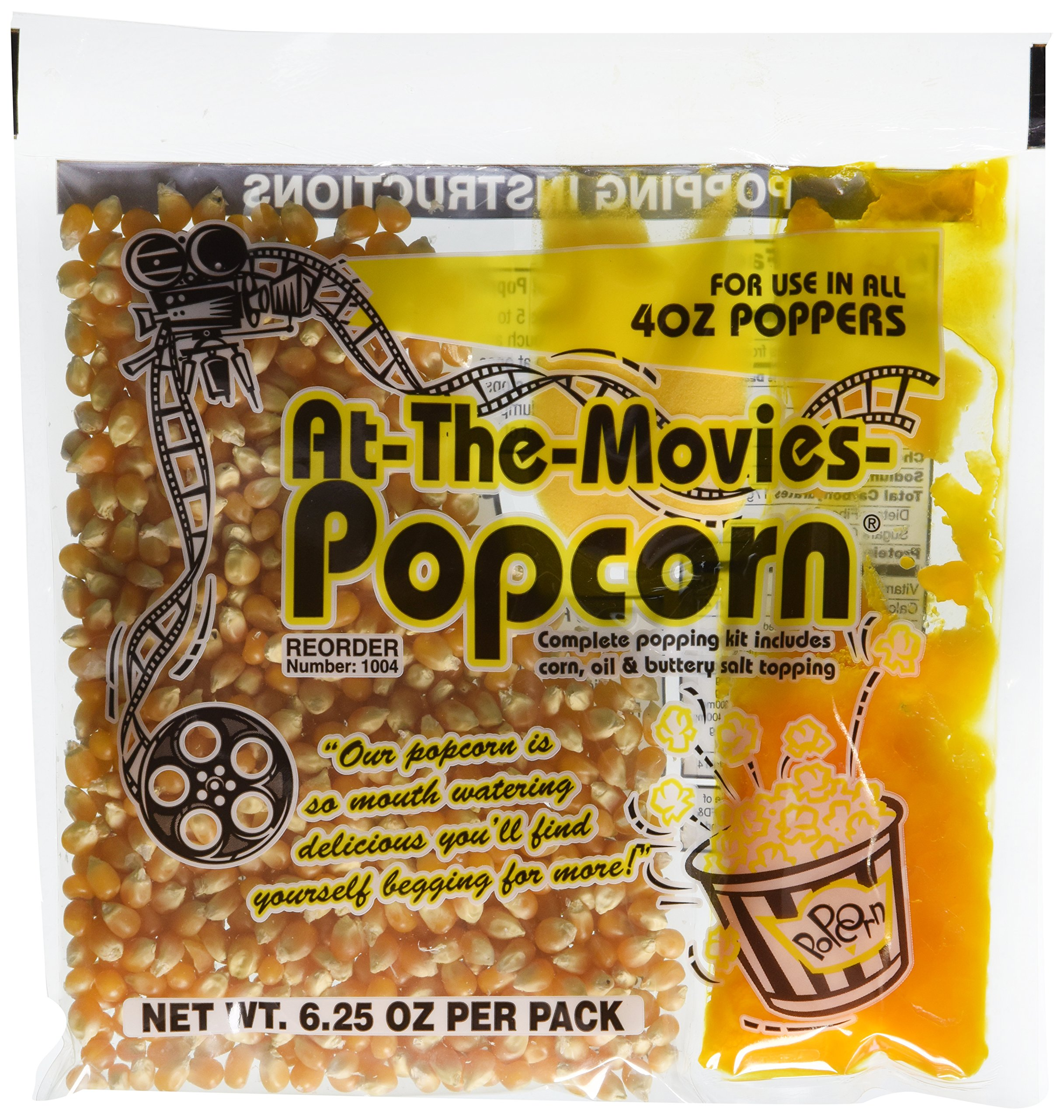 At-The-Movies Popcorn & Coconut Oil Portion Packs-Case of 24 (4oz Kettle)