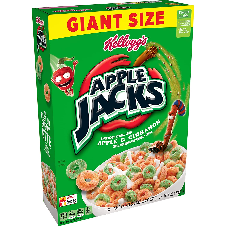 Kellogg's Apple Jacks, Breakfast Cereal, Original, Good Source of 8 Vitamins and Minerals, Giant Size, 26oz Box