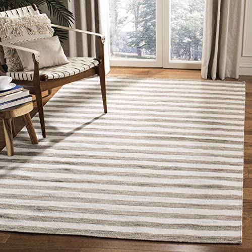 Safavieh Dhurries Collection DHU575E Hand Woven Brown and Ivory Premium Wool Area Rug 3 x 5