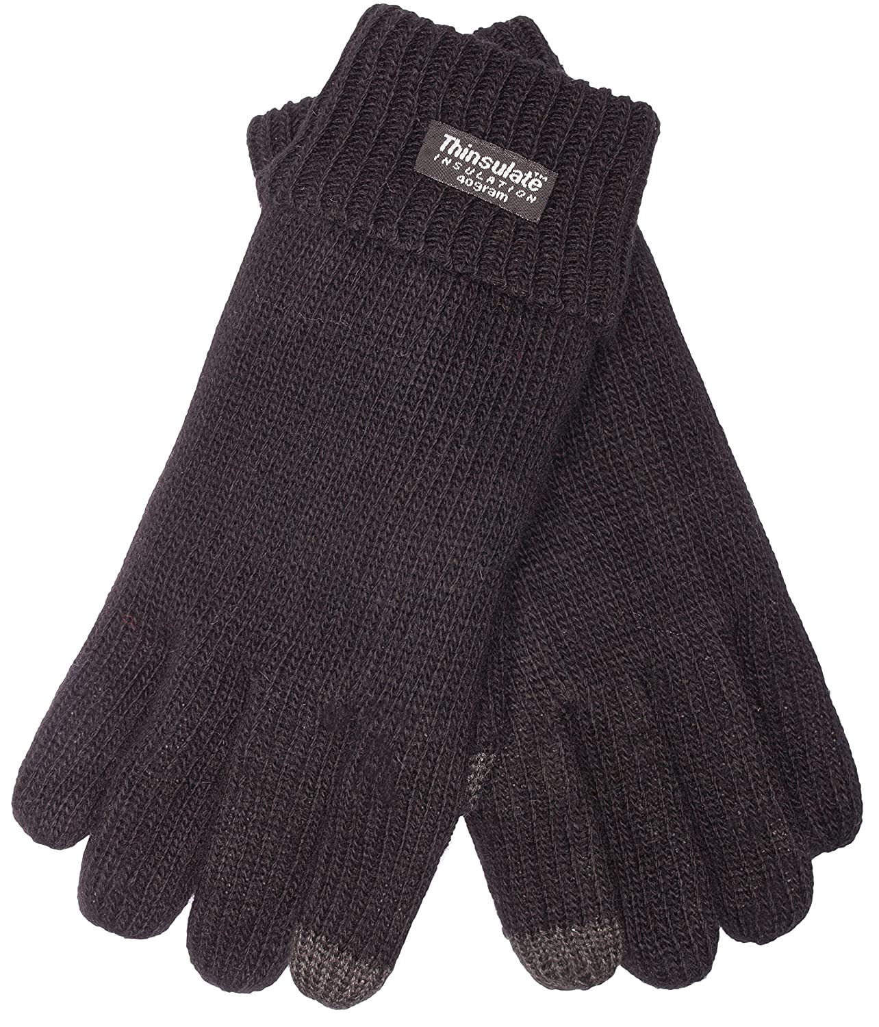 100/% wool EEM Mens knit gloves LASSE-IP with touch function and Thinsulate thermal lining