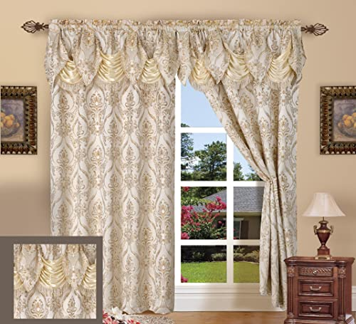 Elegance Linen Luxury Jacquard Curtain Panel Set with Attached Valance 55 X 84 inch Set of 2 , Beige