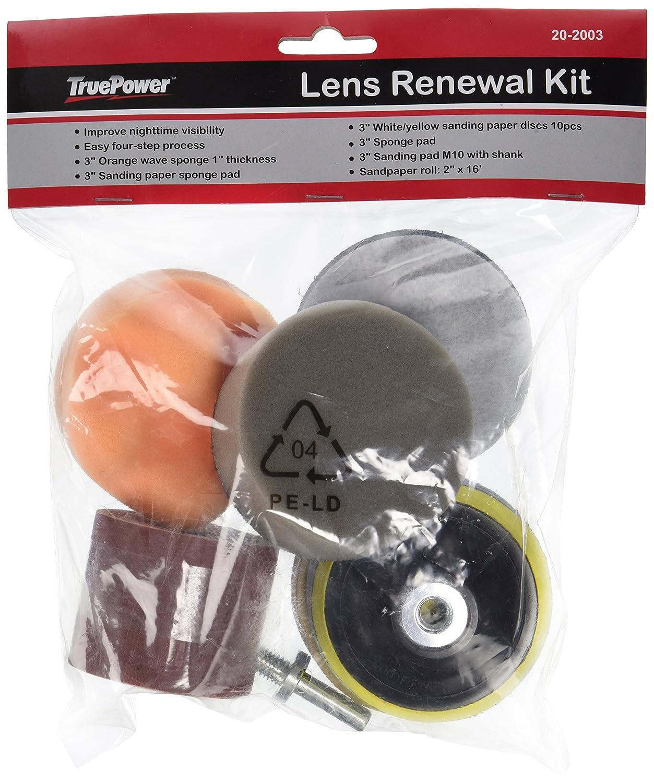 TruePower 20-2003 Headlight Lens Renewal Restoration Kit with Plastic Lens Headlamp