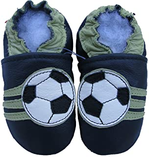1d6771904ade Carozoo Baby boy Soft Sole Leather Infant Toddler Kids Shoes Soccer Dark  Blue