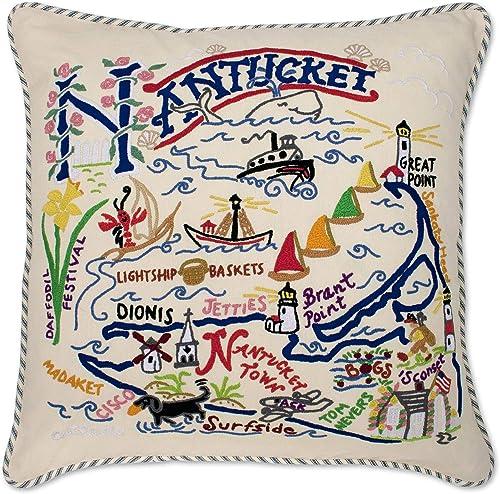 Catstudio Nantucket Embroidered Decorative Throw Pillow