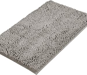 Bath Mats for Bathroom Non Slip Luxury Chenille Ultra Soft Bath Rugs 24x36 Absorbent Non Skid Shaggy Rugs Washable Dry Fast Plush Area Carpet Mats for Indoor, Bath Room, Tub - Dark Grey