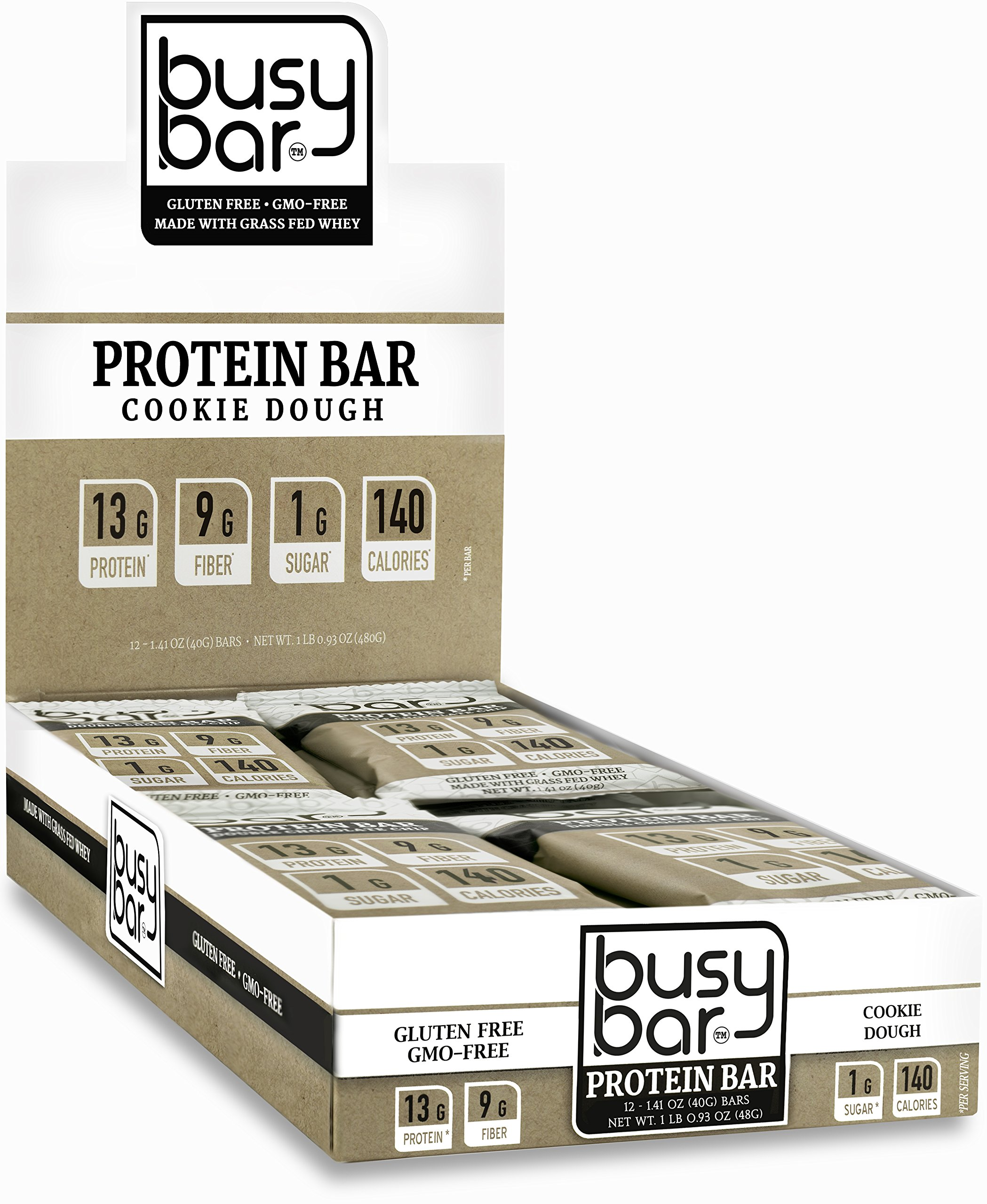 Busy Bar, Grass Fed Whey Protein Bar, Cookie Dough, Only 1g of Sugar, 13g of Protein, Only 140 Calories, Gluten Free, Low Carb Bar, Soy Free, Non-GMO, Perfect Snack On-The-Go (12 Bars) by Too Busy To Eat