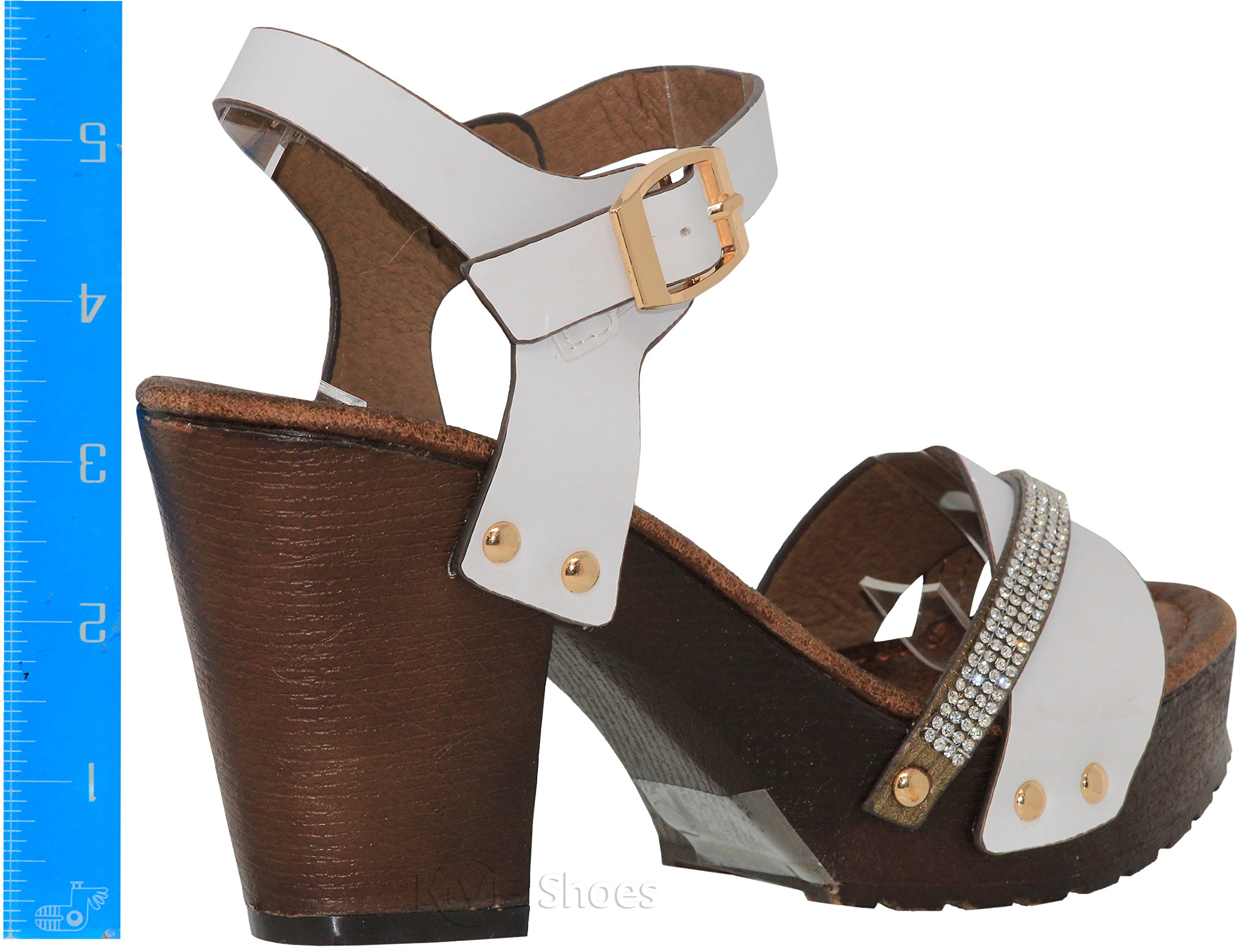 MVE Shoes Women's Ankle Strap Faux Wood Platform Chunky Heel Sandal,vint-02 White pu 10 by MVE Shoes (Image #3)