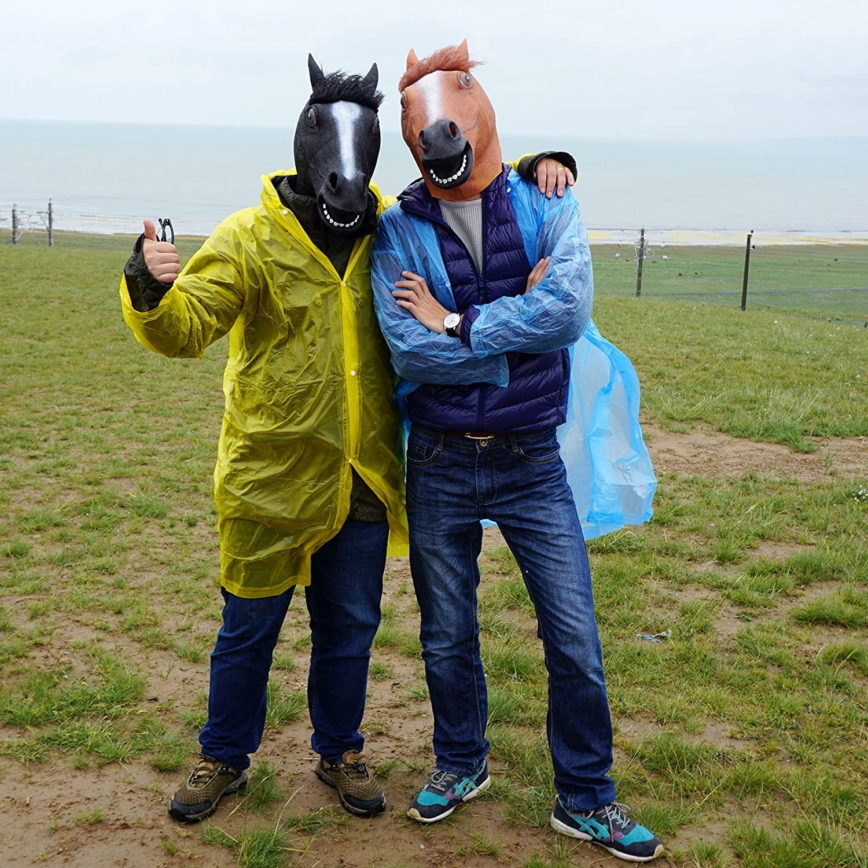 CreepyParty Festa in Costume di Halloween Maschera in Lattice a Testa di Animale Cavallo Nero