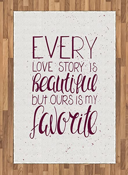 Amazoncom Ambesonne Romantic Area Rug Romance Quote Our Story Is