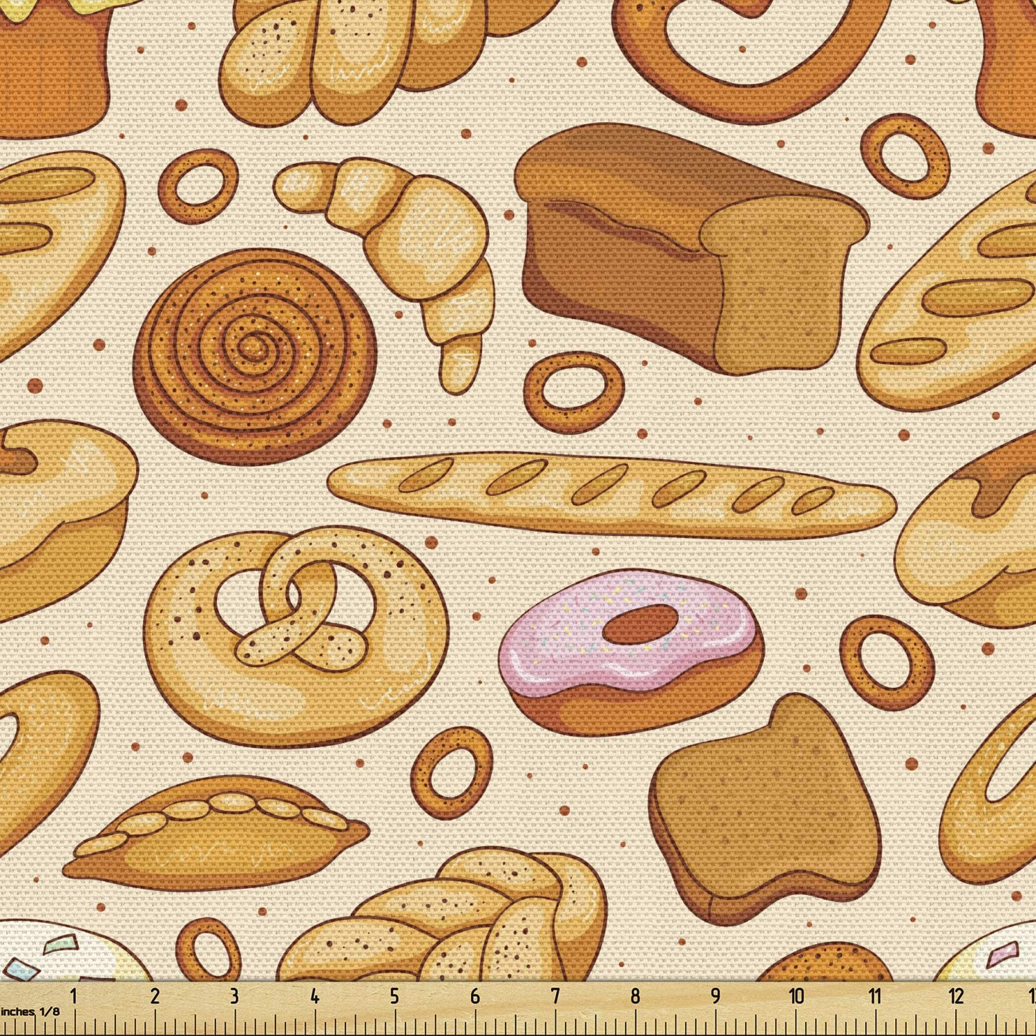 Lunarable Food Fabric by The Yard, Goods from Bakery Bread Doughnut Croissant Bagel and Cinnamon Bun Sketch Design, Decorative Fabric for Upholstery and Home Accents, 1 Yard, Beige Brown