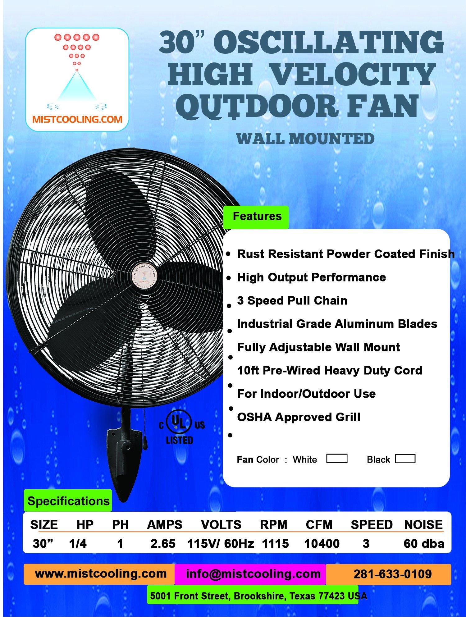30'' OSC Misting Fan Kit - High Pressure 1500 PSI Misting Pump - Stainless Steel Misting Ring - For Warehouse Cooling, Industrial Misting, Outdoor Restaurant Cooling … (30'' OSC 2 - Fans Black)