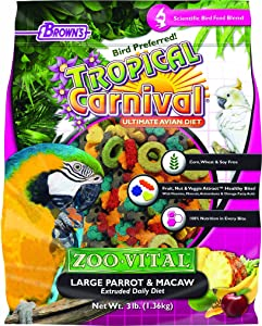 F.M. Browns - Pet 118566 Tropical Carnival Zoo-Vital Lg Parrot & Macaw , 3 Lb, 1Piece