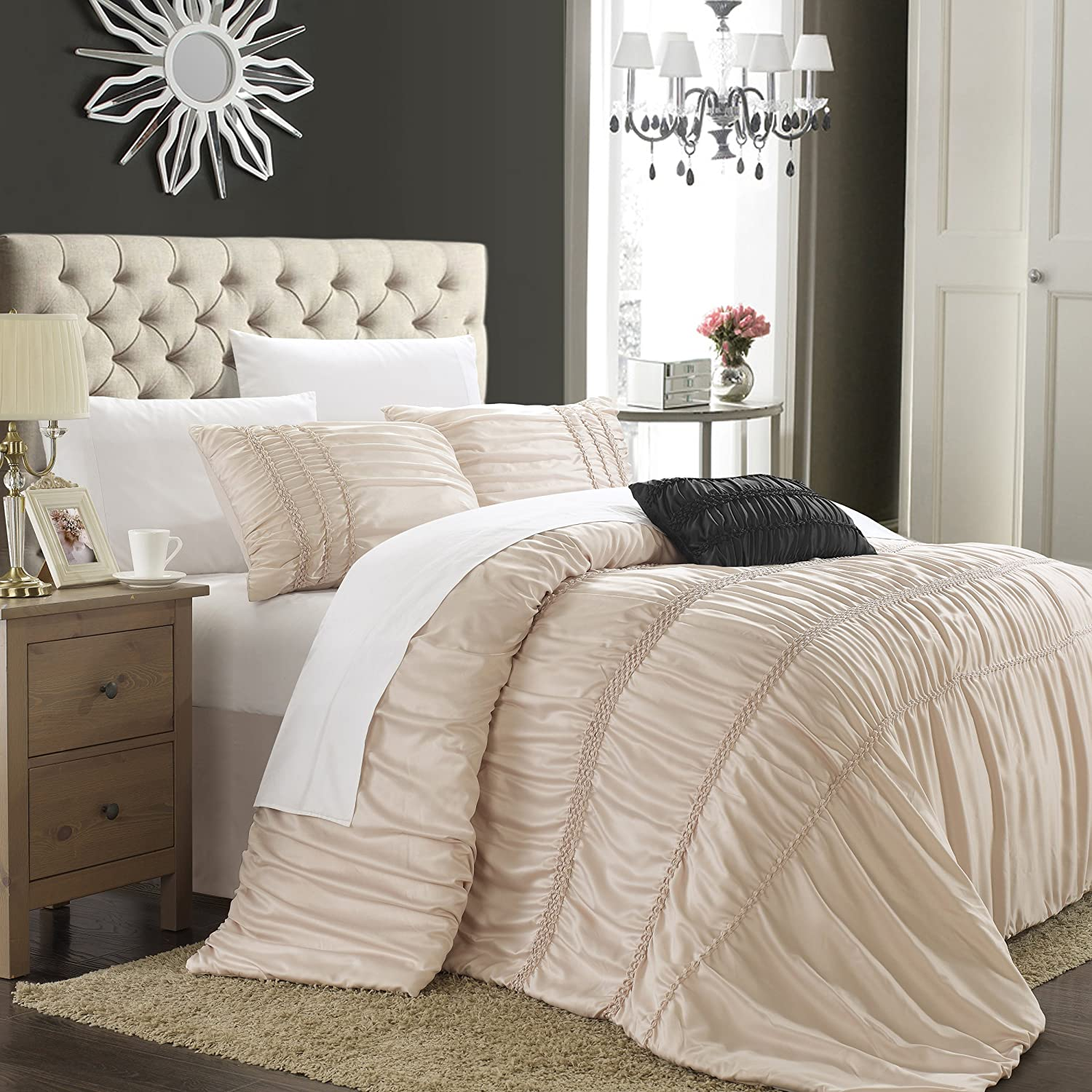 Chic Home Romantica 4-Piece Duvet Cover Set, King, Taupe