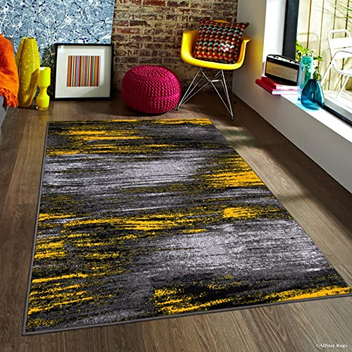 Allstar 5×7 Grey and Gainsboro Grey Modern and Contemporary Rectangular Accent Rug with Yellow Abstract Brush Stroke Design 4 11 x 6 11