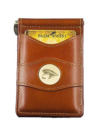 Palm West Leather Minimalist Leather Money Clip Cartera con RFID (piel de avestruz natural, medallón de pescador con mosca) - Beige - talla única: ...