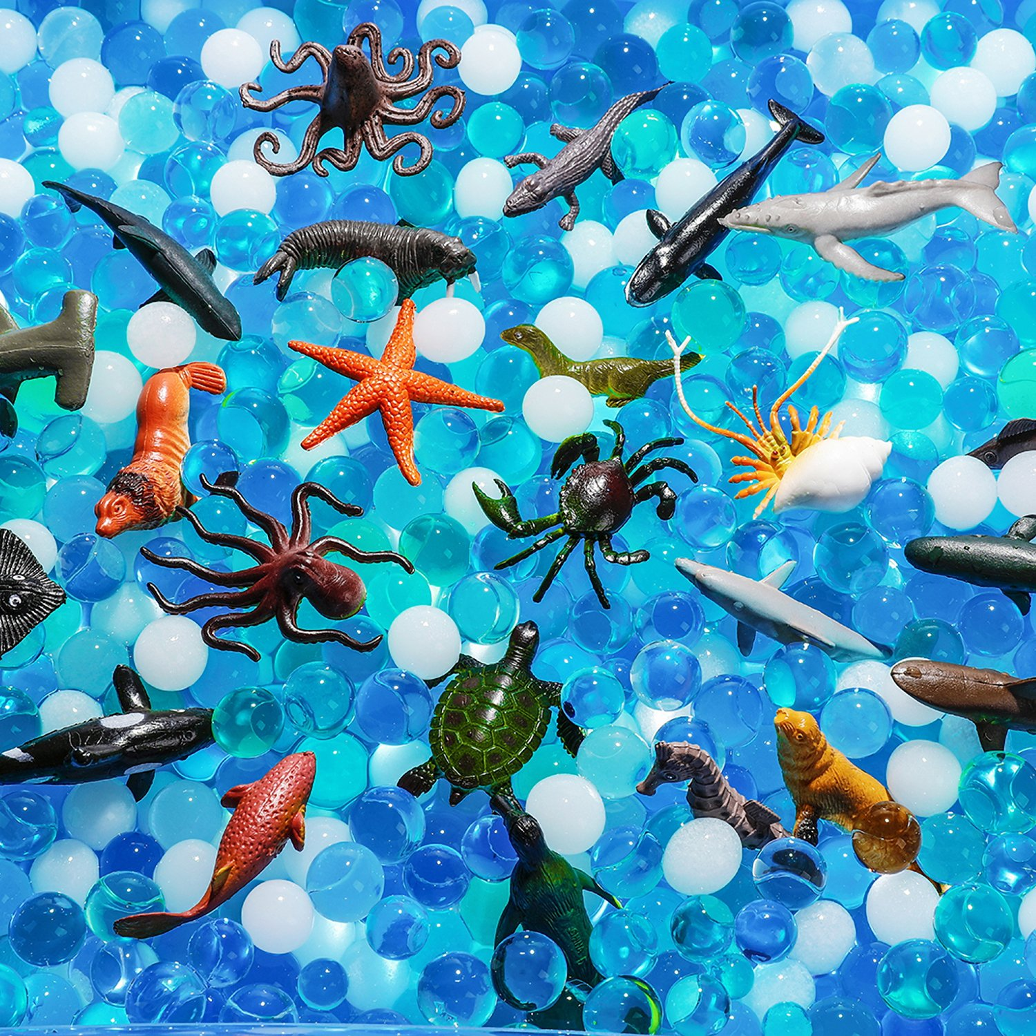 MONILON Water Beads, 24 Pcs Ocean Sea Animals Tactile Sensory Play Kids Toys Boys Girls, Water Gel Soft Beads Growing Jelly Balls Orbeez Spa Refill, Pool Decor-Inflatable Water Mat Include
